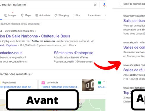 """Première position sur Google pour """"Salle de réunion Narbonne"""" pour le Waw"""